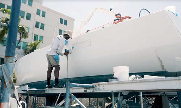 Hurricane Damaged Boat Being Repaired